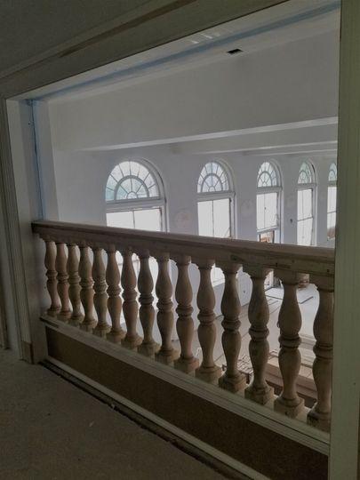 Ledge overlooking the hall