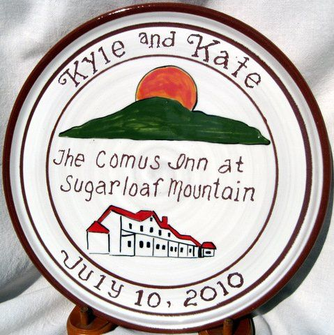Handmade clay plate with name of wedding location, building and Sugarloaf Mountain plus first names...