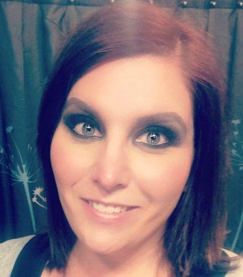 Heavy eye makeup
