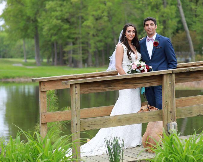 Newlyweds at the bridge