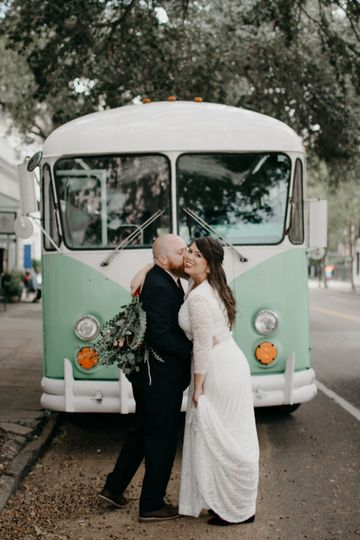 Newlyweds and a mint vintage VW Bus
