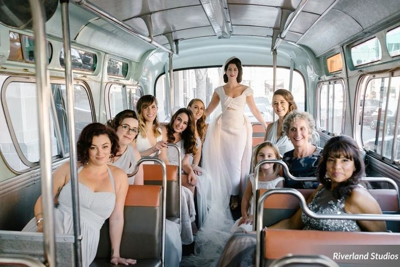 Bride and her ladies in the bus