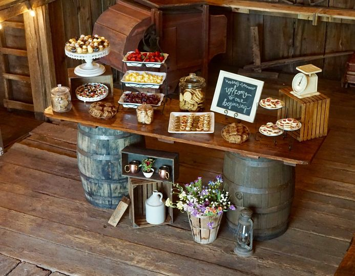 Whiskey barrel bar/buffet