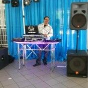 DJ booth and speakers