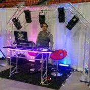 DJ booth setup and uplighting
