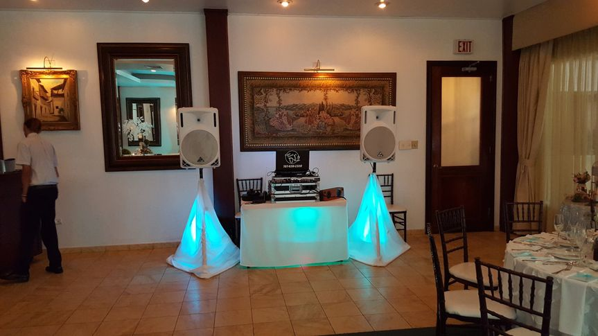 DJ booth and blue uplighting