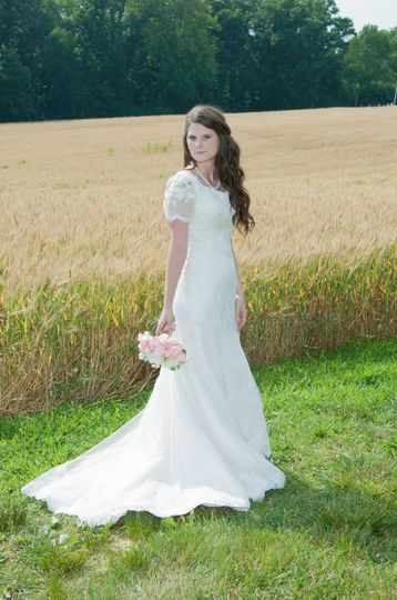vintage style modest lace wedding dress with sleev