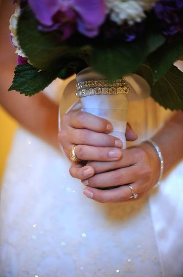 The bride holding bouquet
