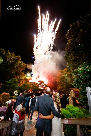 A firework display is a great way to end a wedding reception.