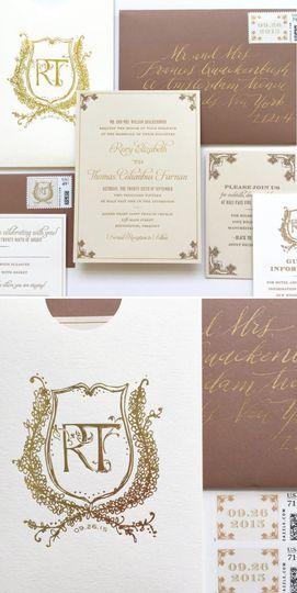 Illustrated monogram crest, classic wedding invitation