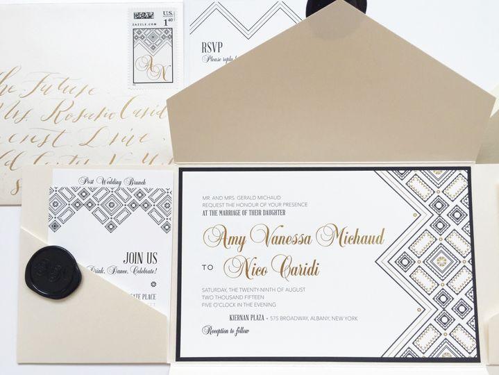 Art deco inspired wedding invitation, gold foil wedding invitation