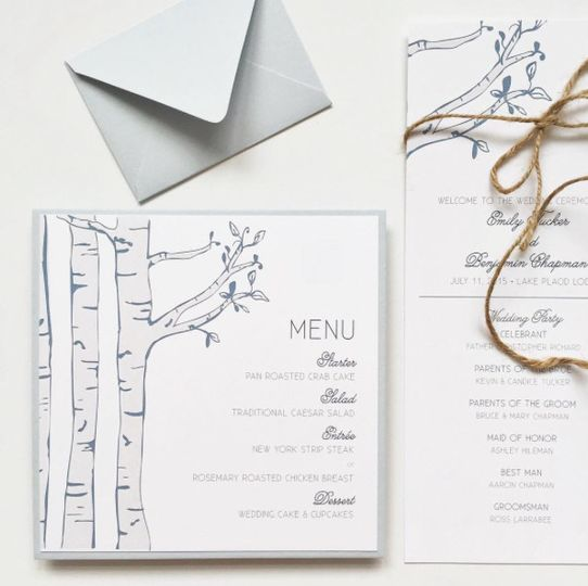 Illustrated lake and mountain inspired wedding stationery