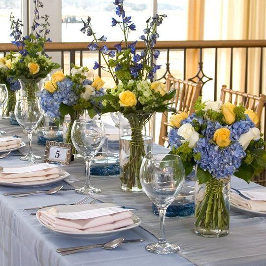 DollarTree.com Wedding Color Scheme Idea: Cool Blue, Lemon Yellow, Silver
