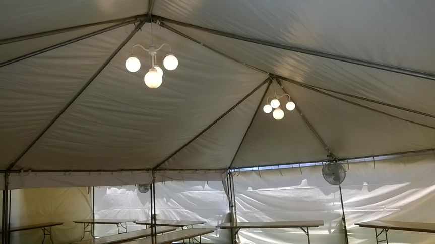 Tent lights and mounted fan