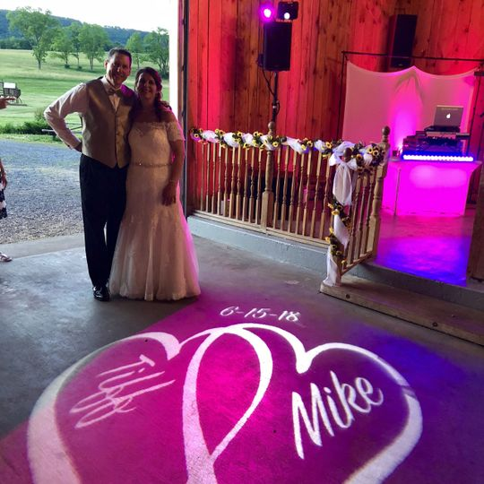 Personalized Monogram illuminated on the dance floor!
