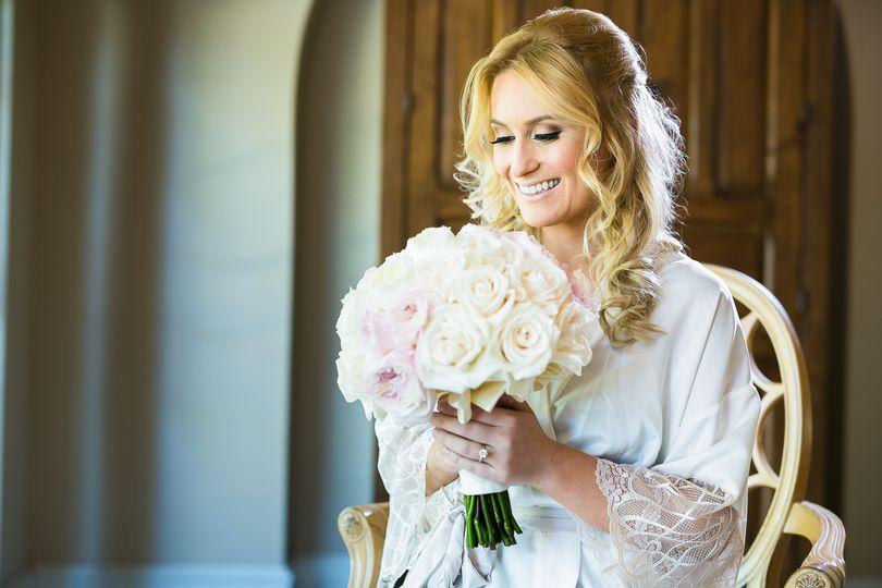 Bridal holding bouquet
