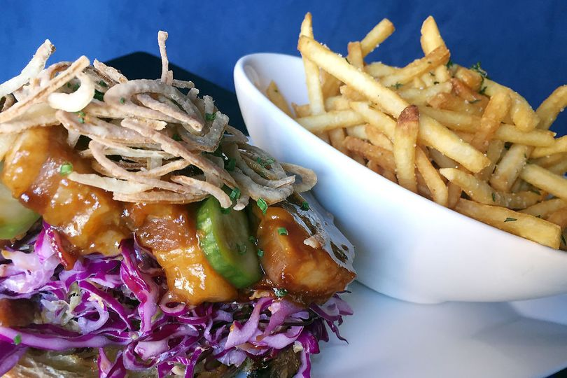 bbq pork belly sandwich with thyme french fries