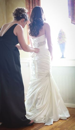 A corset-back wedding gown