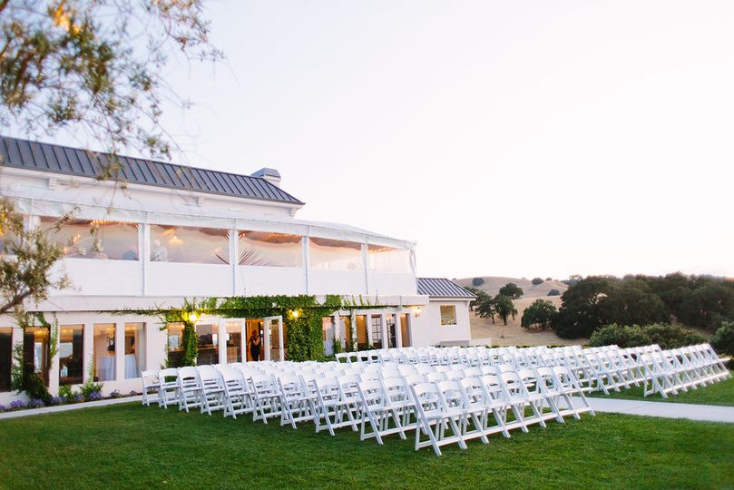 Outdoor wedding setup at the Willow Heights Mansion