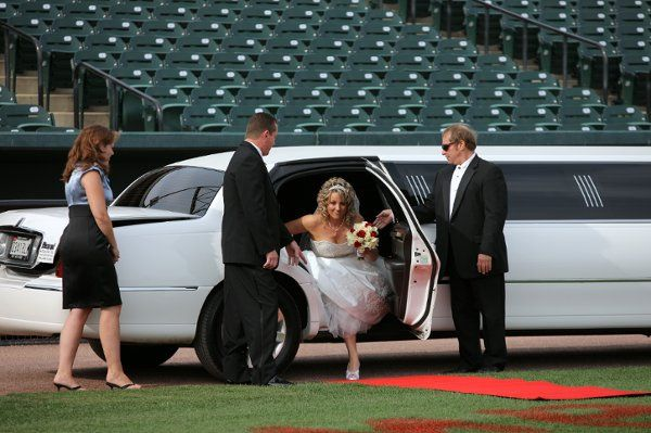 Bride stepping out of the limo