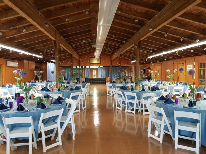 Hall decked out in blue.