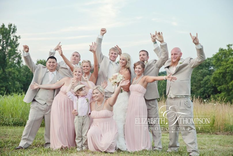 The couple and the wedding party