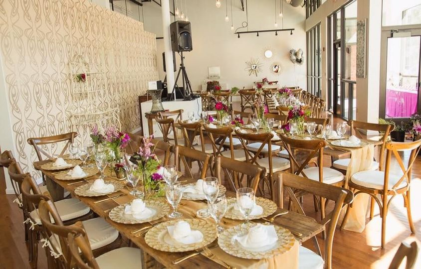 Rustic banquet-style reception