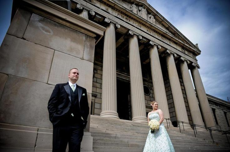 Bride and Groom on front steps