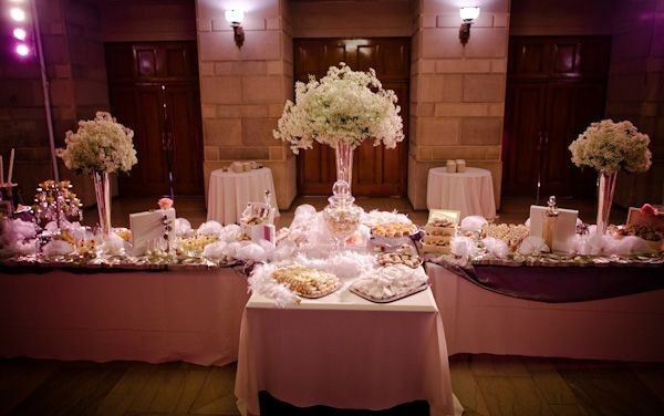 Dessert table set in lobby