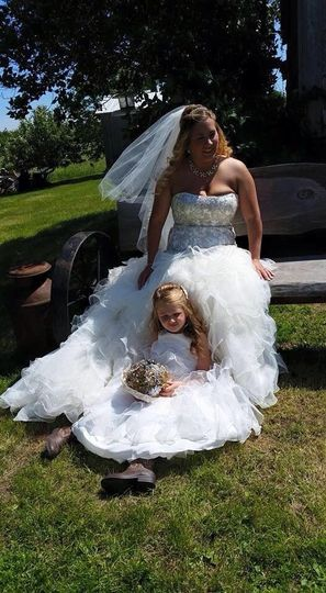 Bride with kid at the farm