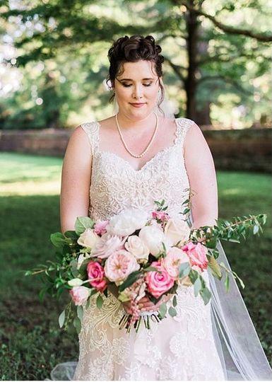 This bridal bouquet featured David Austen Charity garden roses.