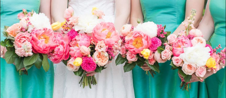 Bold Coral Charm peonies were the star in these bouquets.