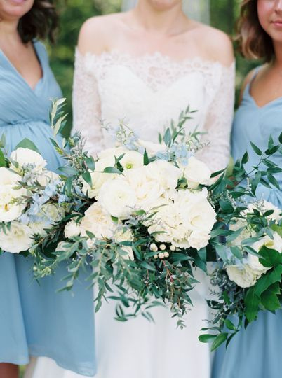 White roses and ruscus-classic
