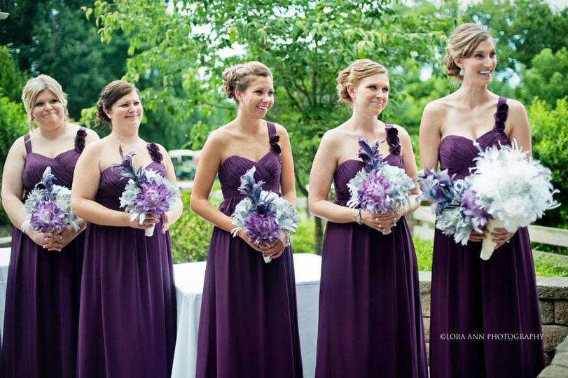 Bridesmaids in violet