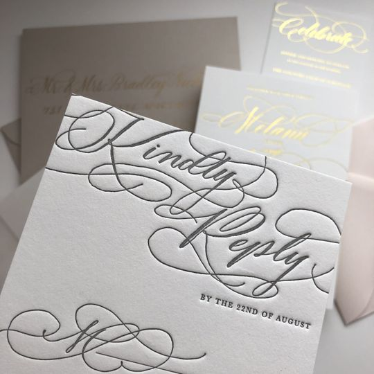 Luxe letterpress reply card