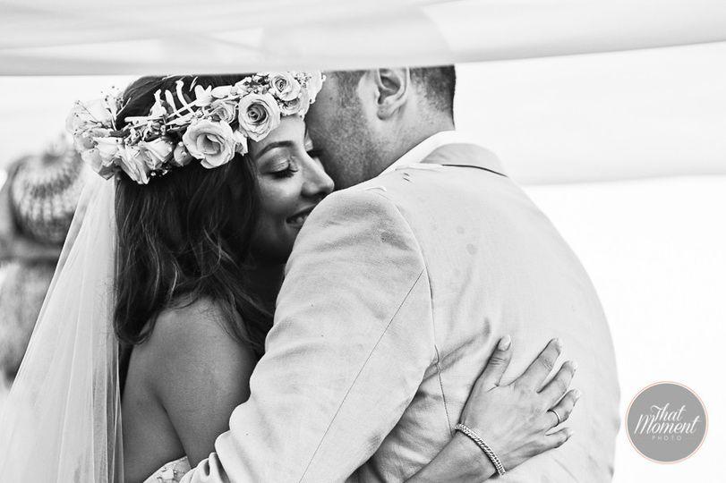Newlyweds embrace