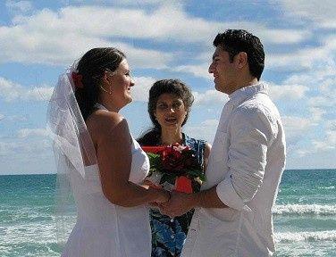 Romantic wedding ceremony on the beach.