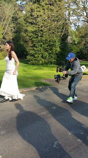 Filming the walking bride