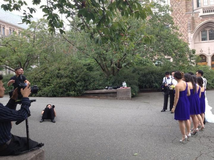 Filming and capturing the couple's with bridal party