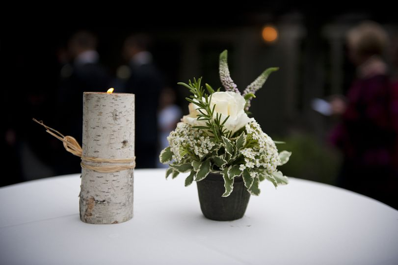 Candle and centerpiece