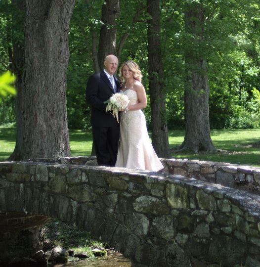 bride on bridge squar