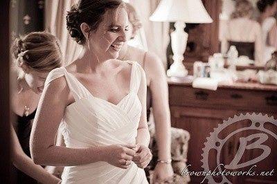 bride getting read