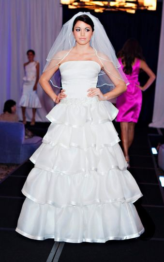 5 Tiers, A line Silk wedding gown with sating hem