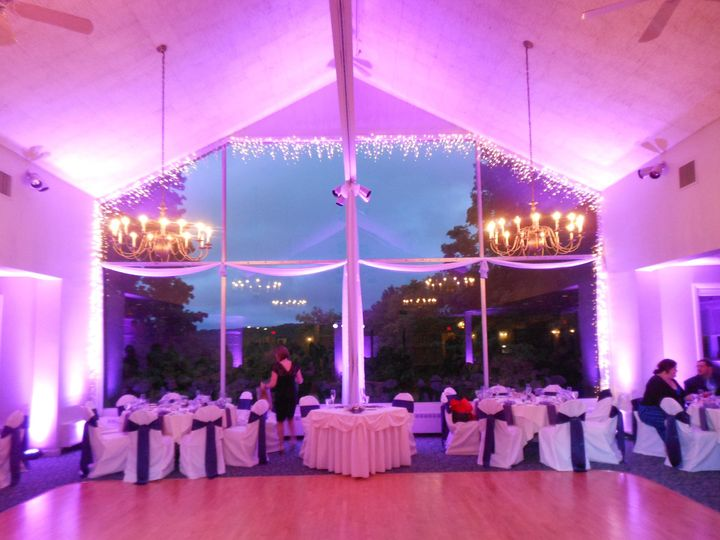 Reception area with pink lights