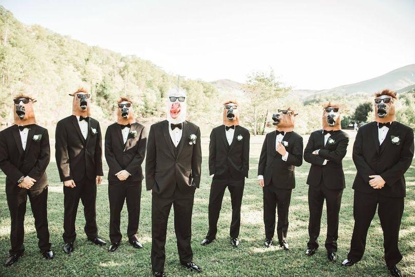 Groom and groomsmen in masks