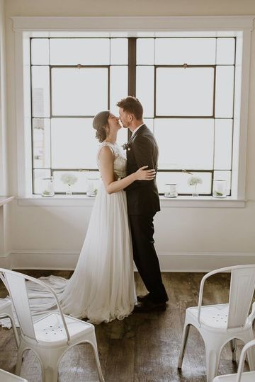 Early morning bakery wedding shoot in Asheboro, NC. The windows in this historic building made...