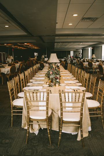 A head table for family-style dining
