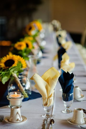 Long table setup with sunflower