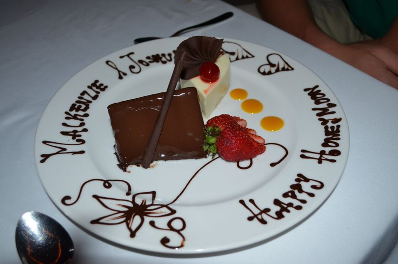 delicious dessert for Honeymoon couple at their resort