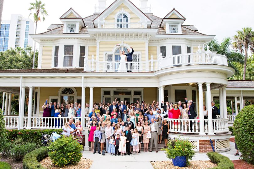 All the wedding guests in front of home